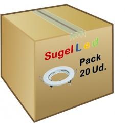 Foco fijo empotrar Blanco, para Lámpara GU10/MR16, Caja 20ud a 1,40€/ud