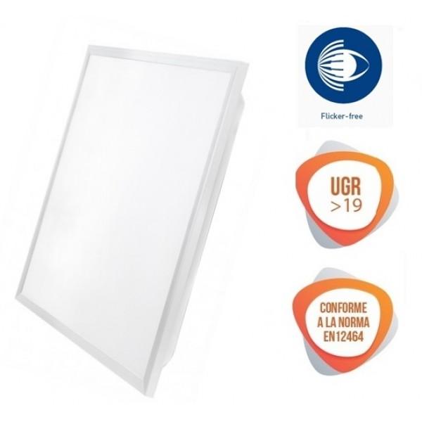 Panel LED 600X600mm 48W Marco Blanco Flicker Free UGR<19, caja 8 ud x 26,5€/ud