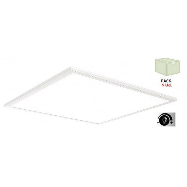 Panel LED Eco 600X600mm 40W Marco Blanco con Driver Regulable, Caja 5 ud x 42€/ud