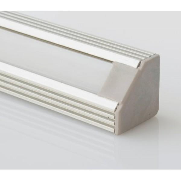 Perfil Aluminio Angulo 19x19mm. para tiras LED, barra 2 Metros -completo- (a 10,45€/mt.)