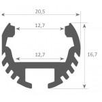 Perfil Aluminio anodizado Redondo 21x17mm. para tiras LED, barra 2 Metros -completo- (a 12,20€/mt.) Acabado Blanco