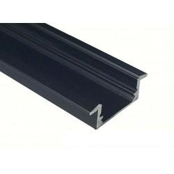 Perfil empotrar aluminio anodizado Negro 21x8mm para tiras LED, barra 2 Metros