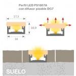 Perfil Superficie aluminio anodizado 16x7mm para tiras LED, barra 2 Metros