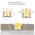 Perfil Superficie aluminio anodizado 16x11mm para tiras LED, barra 2 Metros