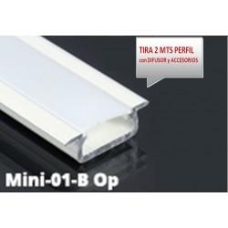 Perfil Aluminio Empotrar 20,5x7mm. para tiras LED, barra 2 metros -completo- (a 4,95€/mt)