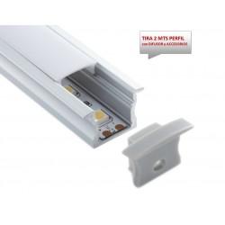 Perfil Aluminio Empotrar Blanco 23x15mm. para tiras LED, barra 2 Metros -completo- (a 9,40€/mt.)