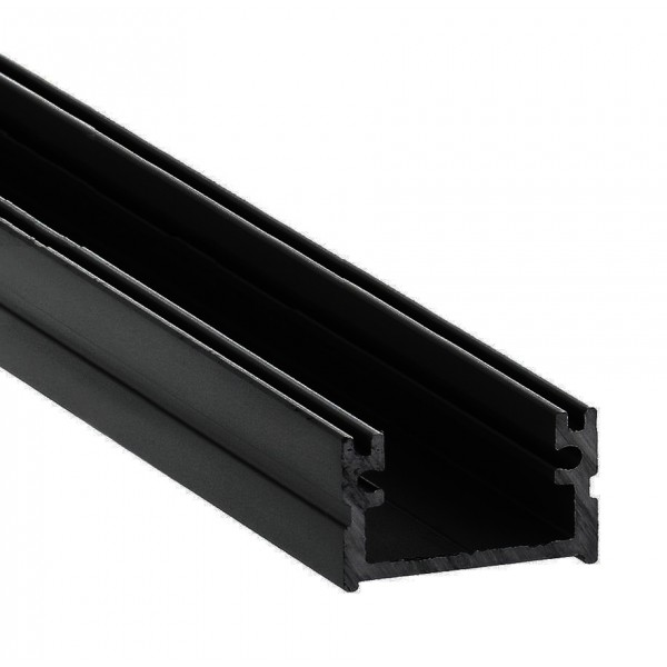 Perfil Superficie aluminio anodizado Negro 16x11mm para tiras LED, barra 2 Metros