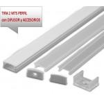 Perfil Aluminio Anodizado Superficie Plata 17x8mm. para tiras LED, barra de 2 Metros -completo- (a 8,25€/m)