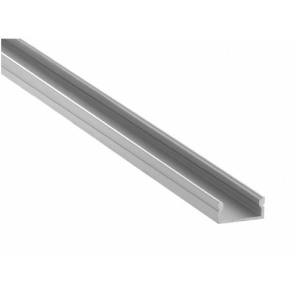 Perfil Aluminio Anodizado Superficie Plata 17x8mm. para tiras LED, barra de 2 Metros