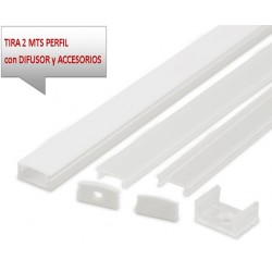 Perfil Aluminio Superficie Blanco 17x8mm. para tiras LED, barra de 2 Metros -completo- (a 8,40€/m)