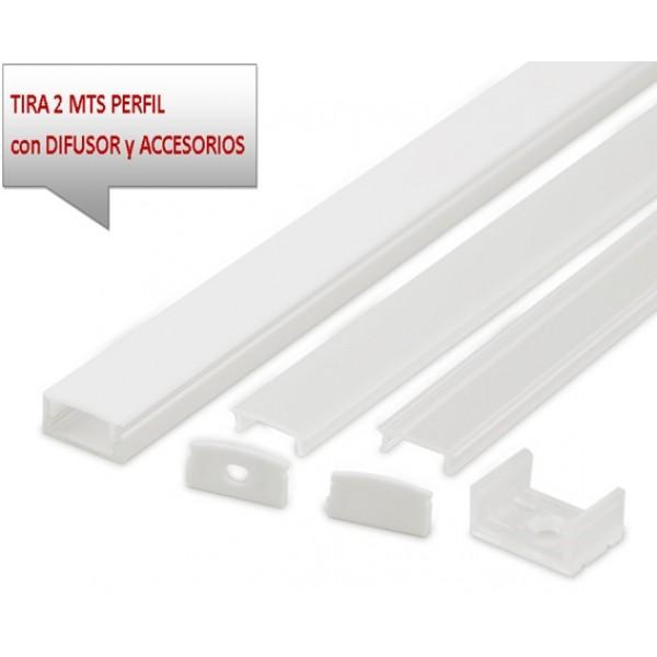 Perfil Aluminio Superficie Blanco 17x8mm. para tiras LED, barra de 2 Metros -completo- (a 8,25€/m)