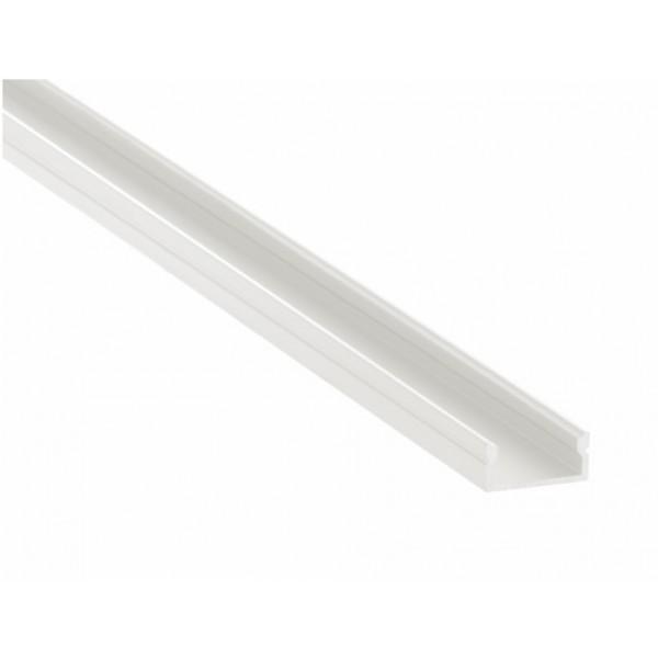 Perfil Aluminio Superficie Blanco 17x8mm. para tiras LED, barra de 2 Metros