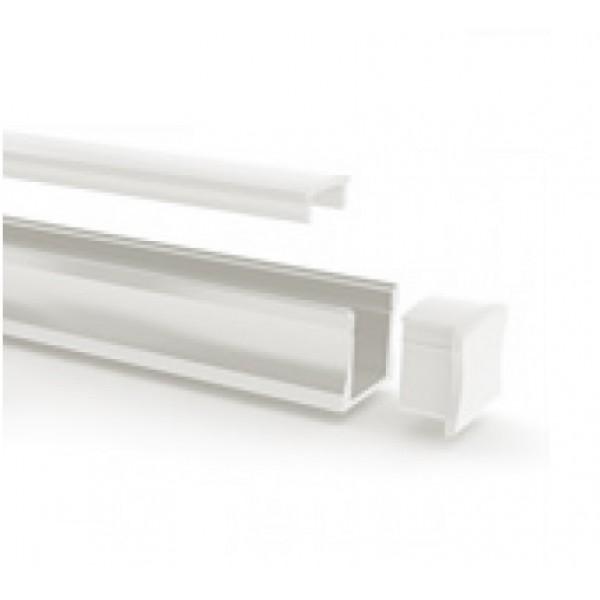 Perfil Aluminio Superficie Blanco 17x15mm. para tiras LED, barra de 2 Metros - completo- (a 8,75€/mt)
