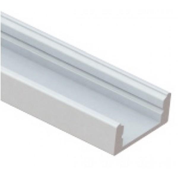 Perfil Aluminio Superficie Blanco LINE 17,5x7mm. para tiras LED, barra de 3 Metros