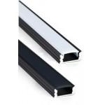 Perfil Aluminio Superficie Negro LINE 17,5x7mm. para tiras LED, barra de 3 Metros