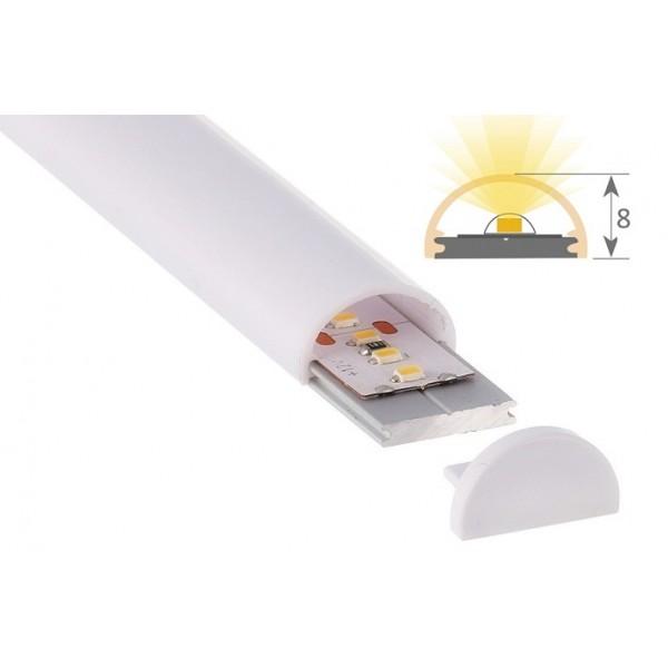 Perfil Aluminio Anodizado Superficie 12x8mm. para tiras LED, barra de 2 Metros -completo- (a 7,50€/m)