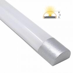 Perfil Aluminio Anodizado Superficie tapas Plata 12x8mm. para tiras LED, barra de 2 Metros -completo- (a 7,00€/m)