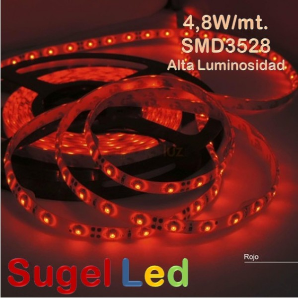 Tira LED 5 mts Flexible 24W 300 Led SMD 3528 IP20 Rojo Alta Luminosidad