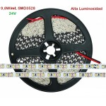 Tira LED 5 mts Flexible 24V 9,6W/mt 120 Led SMD 3528/mt IP20 Blanco Frío Alta Luminosidad