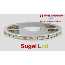 Tira LED 5 mts Flexible 24V 80W 300 Led SMD 5050 IP20 2400ºK Alta Luminosidad