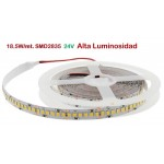 Tira LED 5 mts Flexible 24V 92,5W 1200 Led SMD 2835 IP20 Blanco Neutro, Alta Luminosidad
