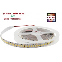 Tira LED 5 mts Flexible 24V 120W 1200 Led SMD 2835 IP20 2400ºK, Serie Profesional IRC >90