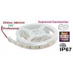 Tira LED 5 mts Flexible 24V 22W/mt 192 Led SMD 3528/mt IP67 Especial Carnicerías, Serie Profesional IRC >90