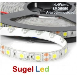 Tira LED 5 mts Flexible 72W 300 Led SMD 5050 IP20 Blanco Cálido Alta Luminosidad
