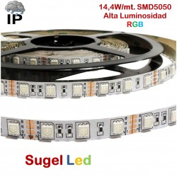 Tira LED 5 mts Flexible 72W 300 Led SMD 5050 IP54 RGB Alta Luminosidad