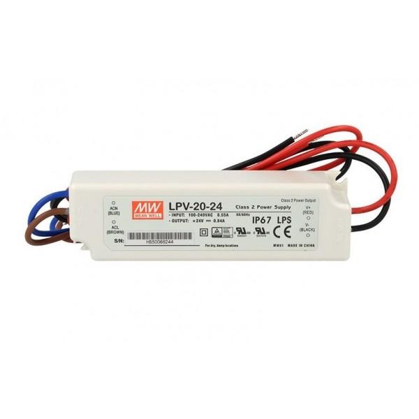 Fuente alimentación LED Voltaje constante IP67 20W 24VDC MEAN WELL