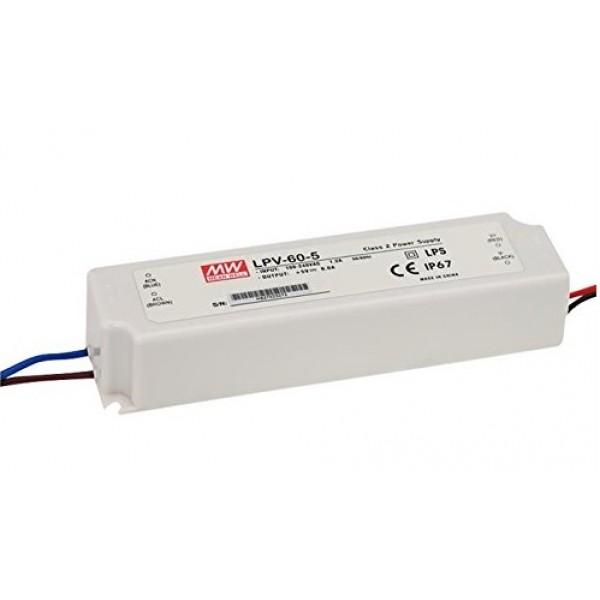 Fuente alimentación LED Voltaje constante IP67 40W 5VDC MEAN WELL