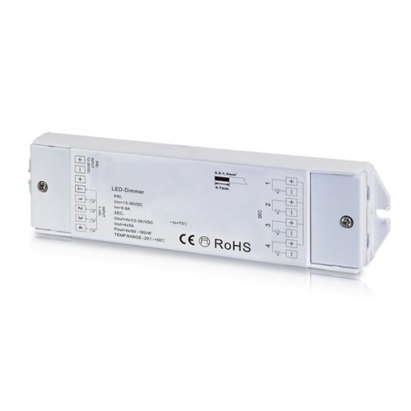 Regulador Controlador 0-10V para tira LED Monocolor 12-36V 4 canales 4 direcciones 240-720W