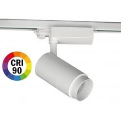 Foco Carril Trifásico LED COB MD14 30W, Ángulo ajustable 15º a 60º CRI90, Flicker Free, Blanco ó Negro