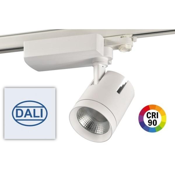 Foco Carril Trifásico LED COB MD6 40W Citizen DALI, CRI>90 Blanco