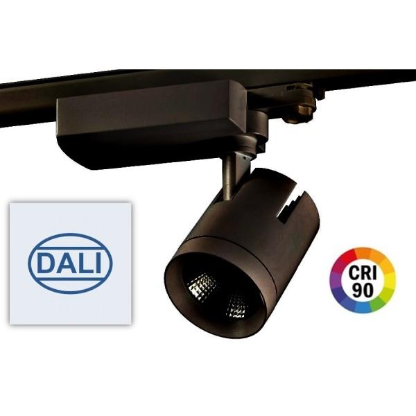 Foco Carril Trifásico LED COB MD6 40W Citizen DALI, CRI>90 Negro