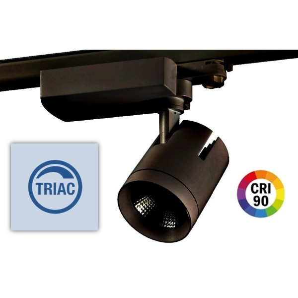 Foco Carril Trifásico LED COB MD6 40W Citizen Regulable, CRI>90 Negro