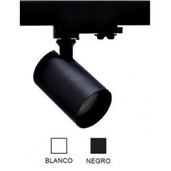 Foco Blanco ó Negro, Carril trifasico LED, Lámpara GU10