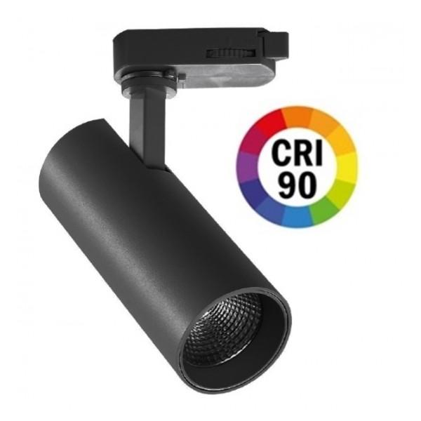 Foco Carril POLAR Trifásico LED COB Citizen 30W 24º Negro CRI90