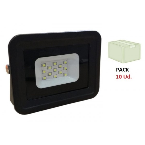 Foco Proyector LED exterior Slim Negro NEOLINE class 10W IP65 SMD, Caja 10ud x 2,4€/ud
