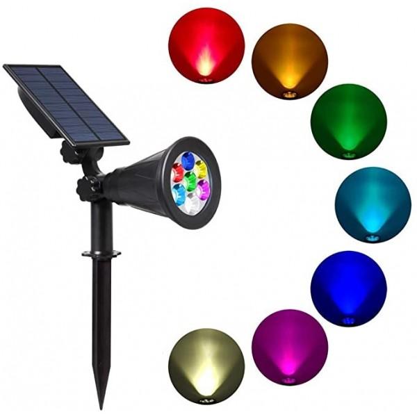 Foco LED Solar exterior jardin con piqueta 2W IP65 7 Colores