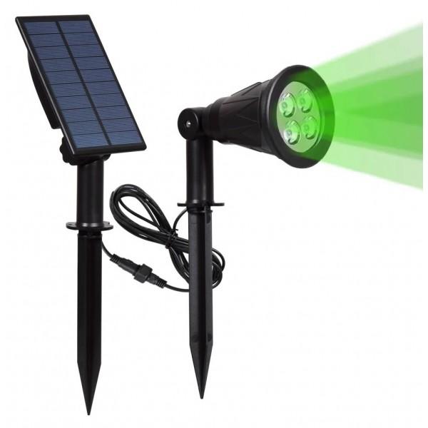 Foco LED Solar exterior jardin con piqueta 2W IP54 Luz Verde, Foco y Placa por separado