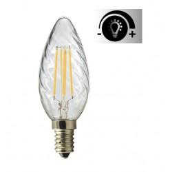 Lámpara LED Vela Rizada Clara E14 4W Filamento Regulable