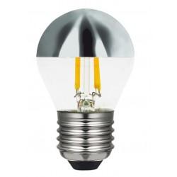 Lámpara LED Esferica Clara E27 2W Filamento 2700ºK Cuplula Plata