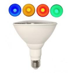 Lámpara LED PAR38 E27 18W 230V, angulo 125º Colores