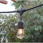 Guirnalda para 15 bombillas E27, separación 1 metro entre portalámparas colgante, protección IP65