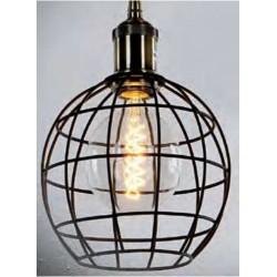 Lámpara Colgante Vintage estructura metalica redonda E27 con cable y florón