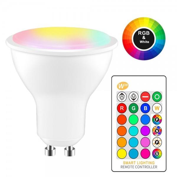 Lámpara LED GU10 5W RGB-W, con mando distancia