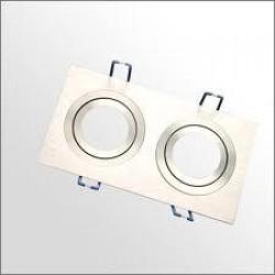 Foco basculante cuadrado empotrar Aluminio texturizado 2L, para Lámpara GU10/MR16
