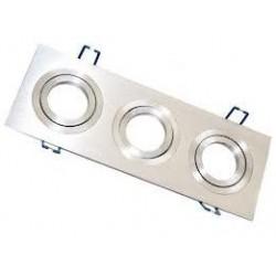 Foco basculante cuadrado empotrar Aluminio texturizado 3L, para Lámpara GU10/MR16