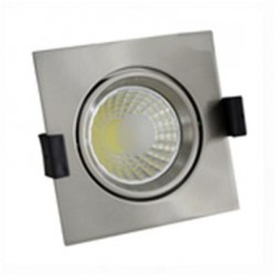 Foco Downlight LED COB Orientable Cuadrado Cromado 100x100mm 8W